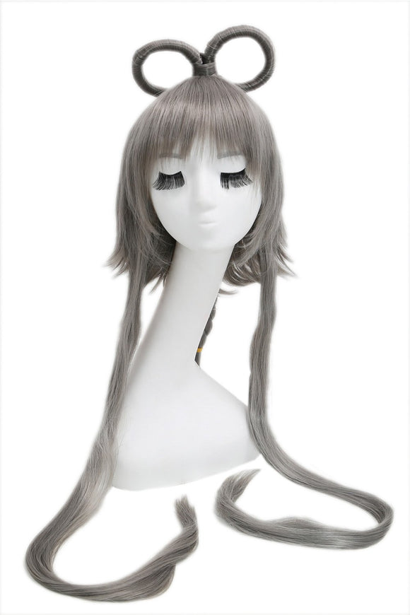 Vocaloid China Cosplay Prestyled Long Dark Grey Straight Anime Party Wigs with Free Wig Cap