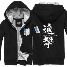 Attack On Titan Hoodie Anime Unisex Thicken Winter Hoodies Black/Gray Zip Hoodie Costume - Xcoser Costume