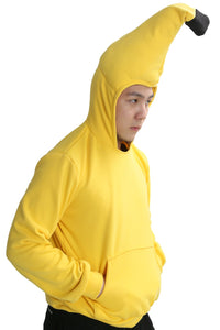 Funny Banana Hoodie Costume Yellow Pullover Cotton Sweatershirt Adult - Xcoser Costume
