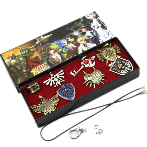 XCOSER The Legend of Zelda Necklace Keychain Ring Pendant Shield 8pcs Set in Box For Cosplay