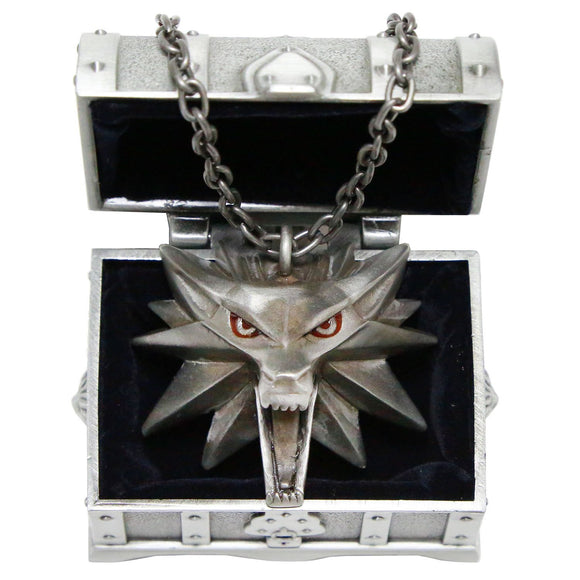 Xcoser Wolf Necklace Updated Version The Witcher 3 Wild Hunt Wolf Head Necklace Silver Tin Pendant With Gift Box