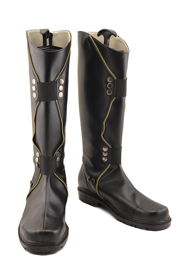 Thor Loki Shoes Black PU Thigh-boots Loki Cosplay Shoes Custom Made
