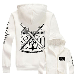 Sword Art Online Hoodie Fashion Anime Unisex Cotton Fleece Zip Up Hoodie Jacket Sweatshirt