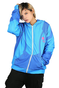 Xcoser Metroid Hoodie Casual Zip Up Blue Hoodie Metroid Cosplay Costume