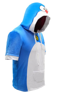 Doraemon Hoodie Cute Doraemon Cosplay Short Sleeve Cotton Pullover Couple Hoodie Costume - Xcoser Costume