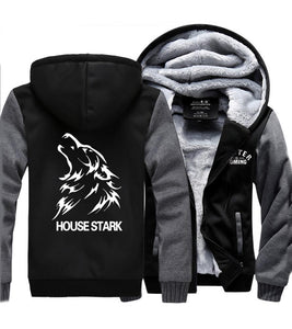 Game of Thrones House Stark Logo Hoodie Cosplay Costume Plus Velvet Zip Up Sweatshirt
