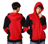X- Men Deadpool Cosplay Cotton Hooded Zipper Coat for Adults