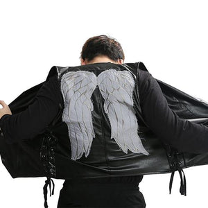 Daryl Dixon Vest The Walking Dead Daryl Dixon Wings Leather Vest Black Adult Mens Fashion Jacket