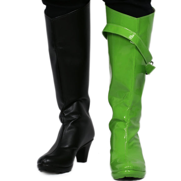 Xcoser New Kim Possible Shego Boots PU Leather Boots Shego Cosplay Shoes