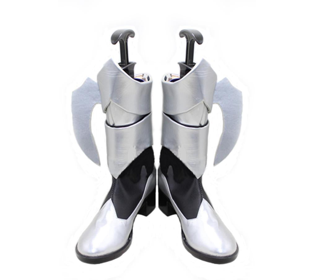 Kingdom Hearts Birth by Sleep Aqua Shoes Silver Faux Leather Zip Closure Cosplay Boots - Xcoser Costume