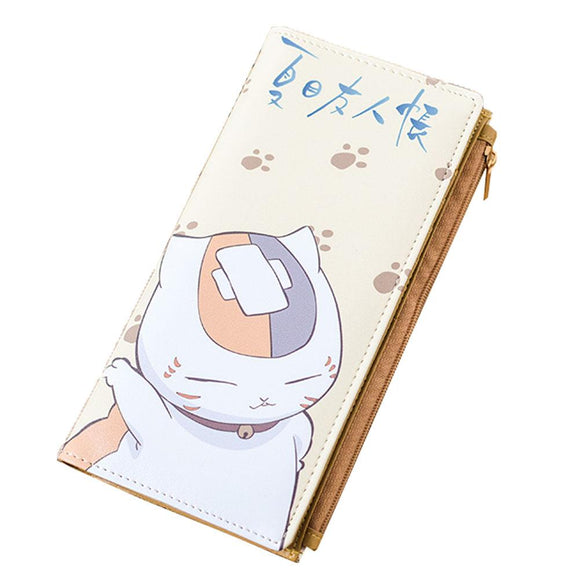 Nyanko Sensei Wallet Cute Natsume Yuujinchou Anime Long PU Wallet Slim Design Bifold Purse