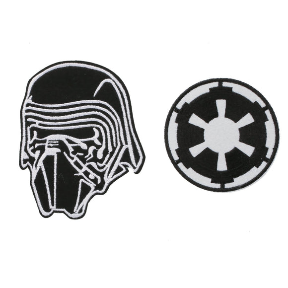 Star Wars Series Cosplay Accessories Kylo Ren and Galactic Empire Symbol Embroidered Patch Badge Fabric Applique 2PCS