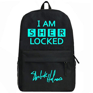 Sherlock Backpack Sherlock Holmes Glowing Style Travel Bag Canvas School Backpack