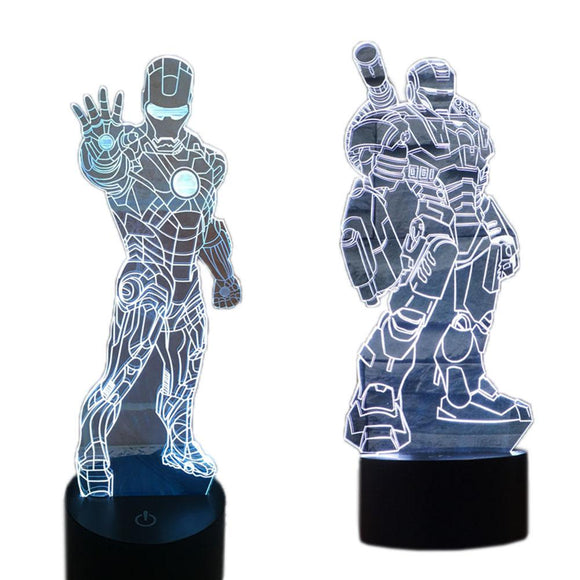 XCOSER 3D Iron Man Gradual Stereoscopic Illusion Light Lamp LED Touch Switch 7Color
