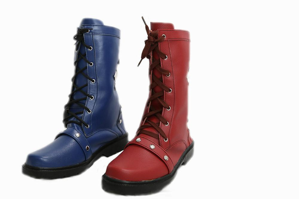 Batman Arkham Knight Harley Quinn Boots Black Red PU Cosplay Shoes - Xcoser Costume