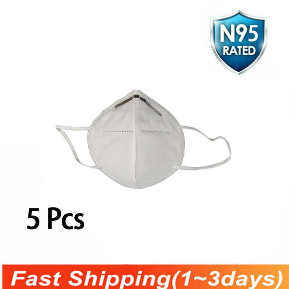 5 pcs Disposable Face Masks Flat Fold Cotton KN95 Mask Breathable for Blocking Dust Bacteria Virus