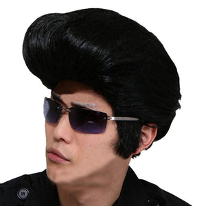 Rock N' Roll Elvis Presley Costume Wig The Plane Head Hairstyle Mens Cosplay Wig