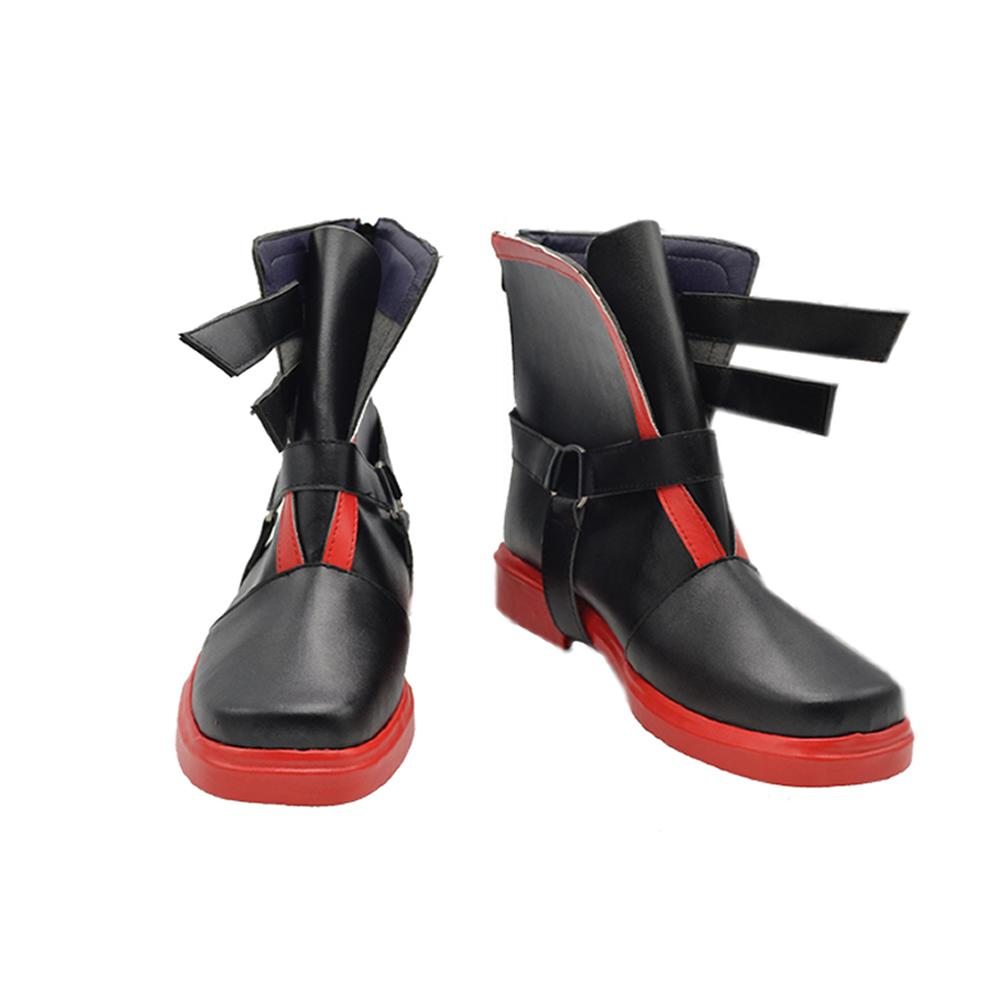 Fullmetal Alchemist Boots Black Red PU Unique Mens Shoes - Xcoser Costume