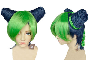 Jolyne Kujo Wig JOJO's Bizarre Adventure Jolyne Short Anime Wig with Braids Buns Green - Xcoser Costume