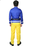 Fireman Sam Costume Blue Tops Yellow Pants for Adults Kids - Xcoser Costume