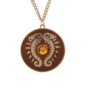 The Legend of Zelda: Breath of the Wild Link Shield Necklace Round Brown Necklace