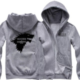 House Stark Hoodie Game of Thrones Winter Is Coming Cotton Fleece Zip Up Hoodie For Men - Xcoser Costume