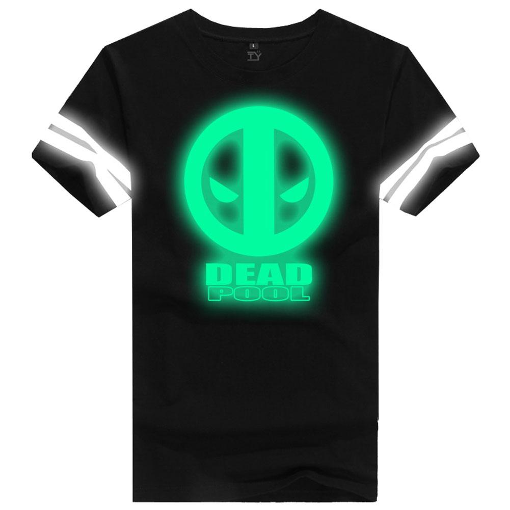 Deadpool T shirt Marvel Deadpool Cosplay Costume Cotton Short Sleeve Glowing T-shirts For Men - Xcoser Costume
