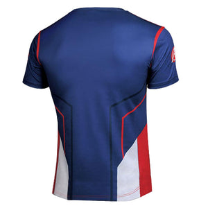 Avengers Age of Ultron Captain America Cosplay Cooldry Short Sleeve Tshirt - Xcoser Costume