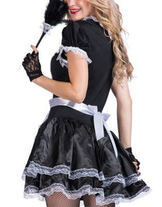 Sexy Women French Maid Lace Black Cosplay Costumes for Party