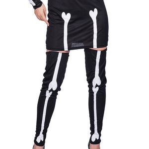 Skeleton Printed Smooth Cosplay Dress with Gloves and Leg Warmers