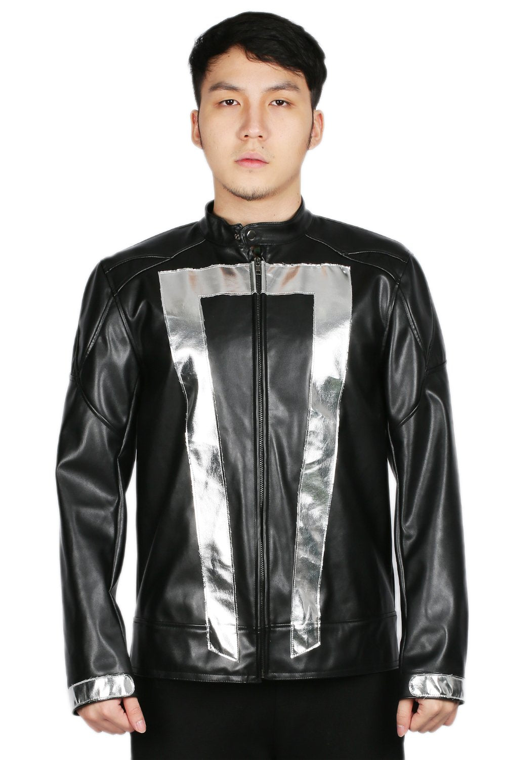 Ghost Rider Jacket Deluxe Black PU Leather Jacket Coat Ghost Rider Cosplay Costume - Xcoser Costume