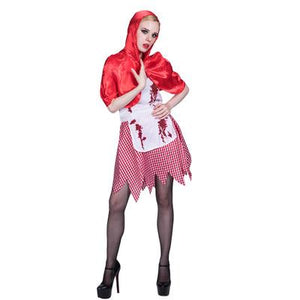 Halloween Bloody Little Red Riding Hood Zombie Costume for Adults