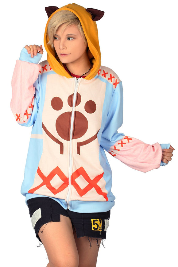 Xcoser Spring and Autumn Monster Hunter Felyne Cosplay Hoodie Zip Up Cardigan Cosplay Costume for Woman