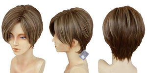 Leon Kennedy Wig Resident evil 4 Cosplay Short Brown Synthetic Heat Resistant Wig - Xcoser Costume