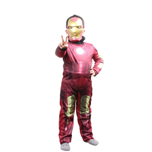 Iron Man Costume Suit Marvel Iron Man Cosplay Jumpsuit and Mask For Kids - Xcoser Costume