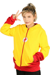Xcoser The Flash 3 Wally West Bright Yellow Unisex Zipper Hoodie Kid Flash Cosplay Costume