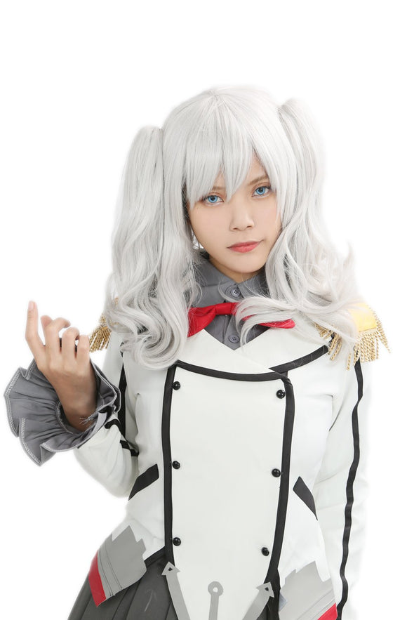 Kashima Wig Kantai Collection Silvery White Costume Party Wig with Clip In Ponytails - Xcoser Costume