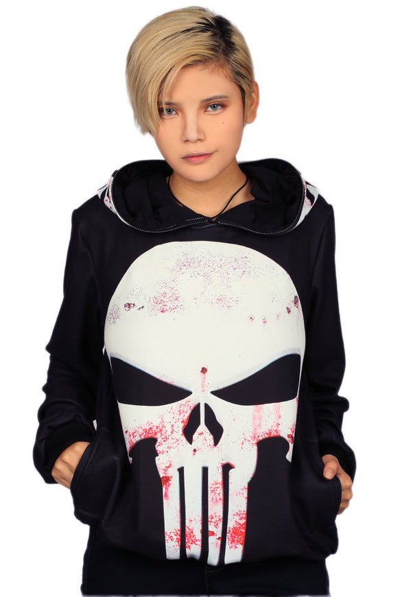 Xcoser Daredevil Punisher Pullover Hoodie with Full Zip Hood Punisher Cosplay Costume Halloween Costume