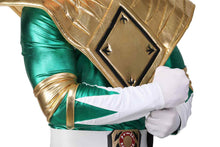 Halloween Cosplay XCOSER Mighty Morphin Power Rangers Cosplay Green Ranger Full Set Green PU Costume