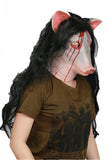 XCOSER Jigsaw Horrible Cosplay Killer Pig Head Shaped Helmet & Wig Halloween Mask