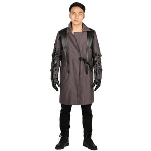 Adam Jensen Gray Cotton Overcoat Game Deus Ex: Mankind Divided Cosplay Costume in Men's Size
