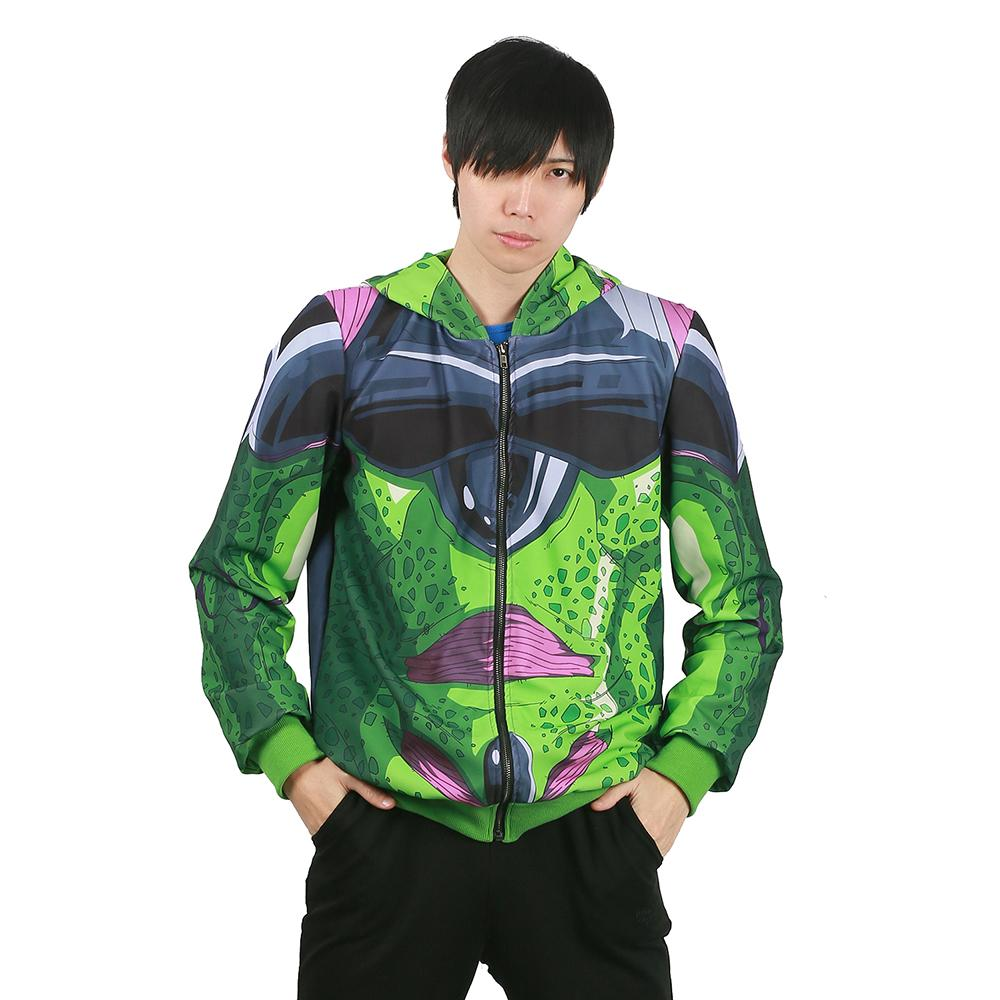 Xcoser Dragon Ball FighterZ Game Cosplay Cell Green Loose-fitting Hoodie Costume