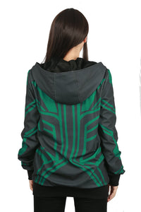 Xcoser Thor: Ragnarök Movie Cosplay Hela Zip-Up Hoodie Costume