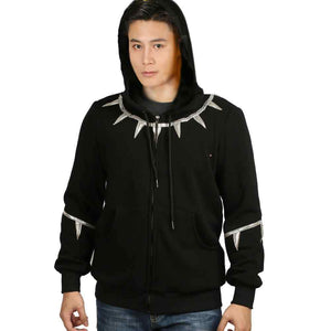 XCOSER Black Panther Cosplay TChalla Black & Sliver Zip-up Hoodie Costume