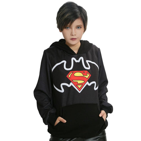Movie Cosplay Hoodie Black Cotton Hoodie with Batman v Superman Logo