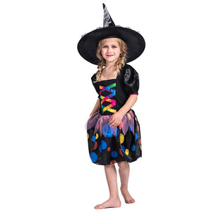 Halloween Cosplay Black Witch Fancy Dress Costume for Girl
