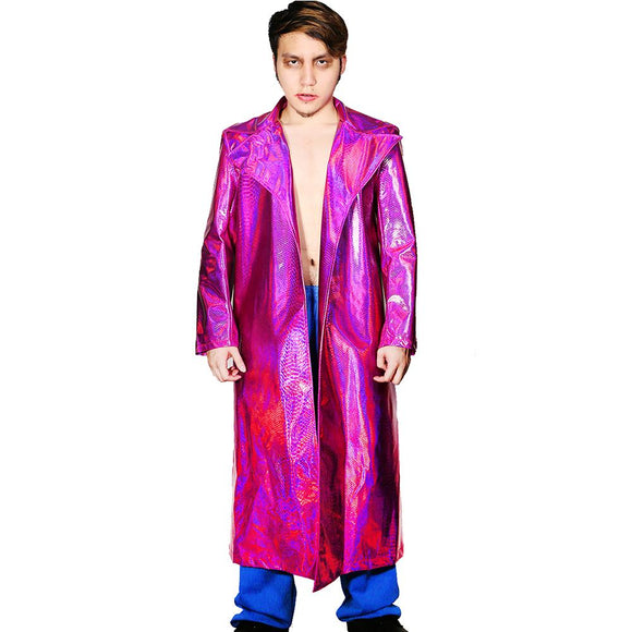 Joker Costume Purple PU Leather Long Coat and Trousers New Version Suicide Squad Cosplay Costume - Xcoser Costume