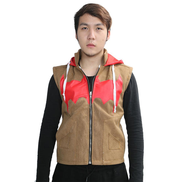 Red Hood Vest Fashion Mens PU Canvas Vest with Hood Batman Under the Red Hood Cosplay Costume
