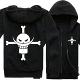 One Piece Hoodie Anime One Piece White Beard Costume Cotton Zip Up Hoodie Coat Black/Gray
