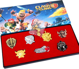 Clash of Clans Badge 7pcs Zinc Alloy Badge Set with 6 Brass Butterfly Clutch Pin Backs